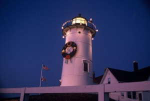 Nobska Lighthouse all decked out for the holidays