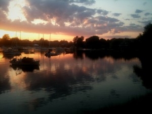 sunset over the Eel Pond in Woods Hole on Cape Cod