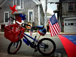 festive bikes in Woods Hole