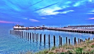 View of the ferry dock in Oak Bluffs, Martha's Vineyard MA