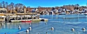 ice and red boat on Eel Pond in Woods Hole